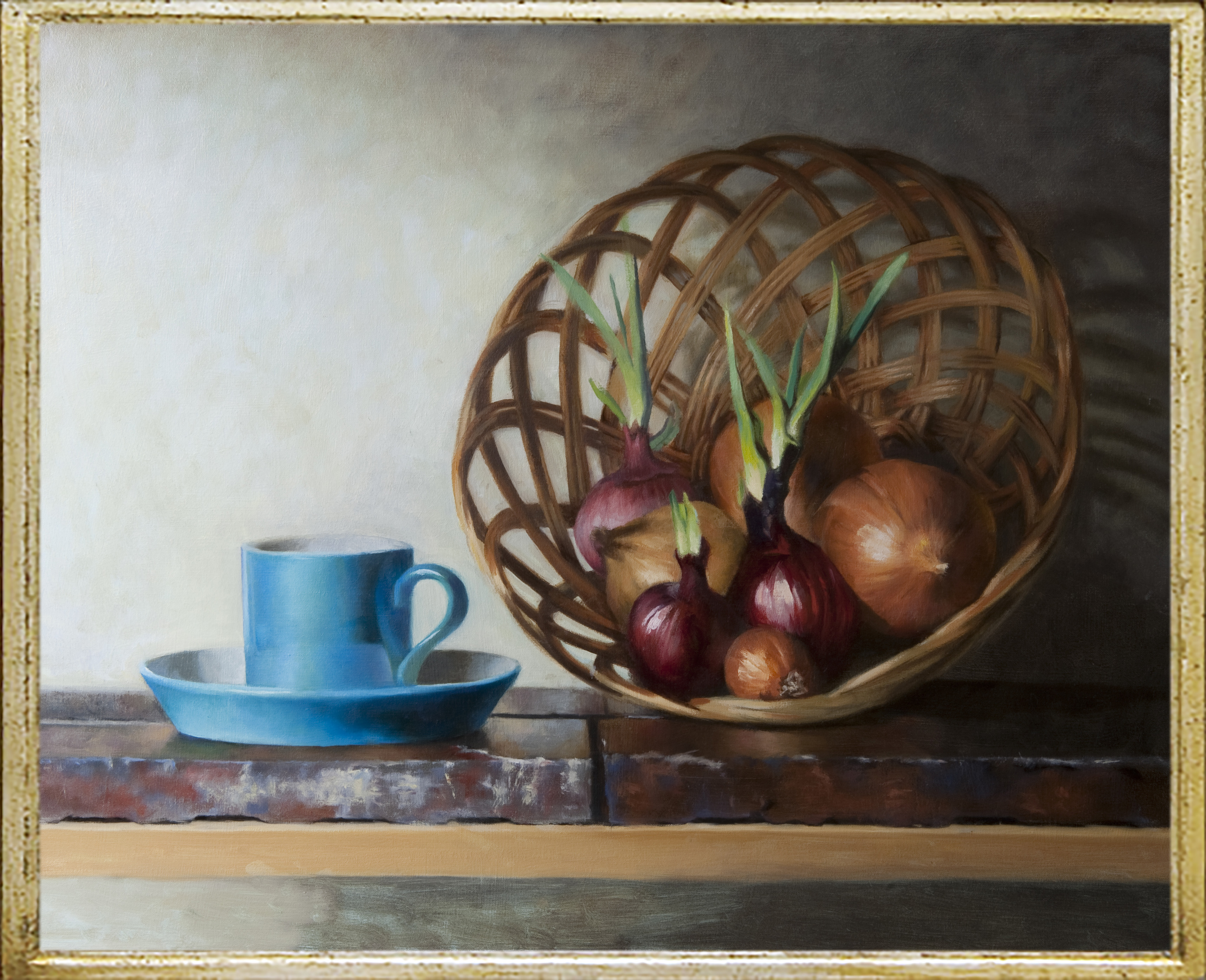 Blue Cup with Basket of Sprouting Onions