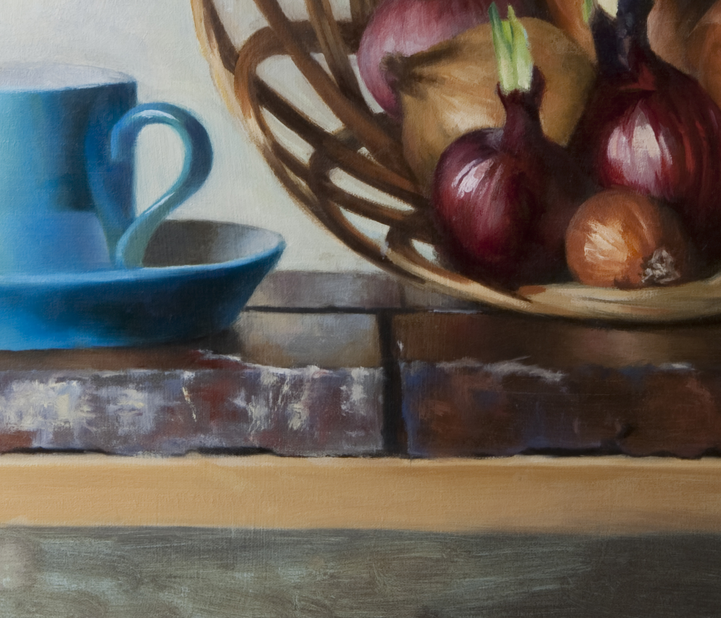 Blue Cup with Basket of Sprouting Onions - detail