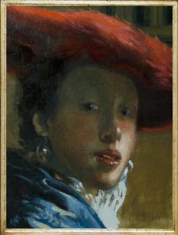 Girl with a Red Hat after Vermeer