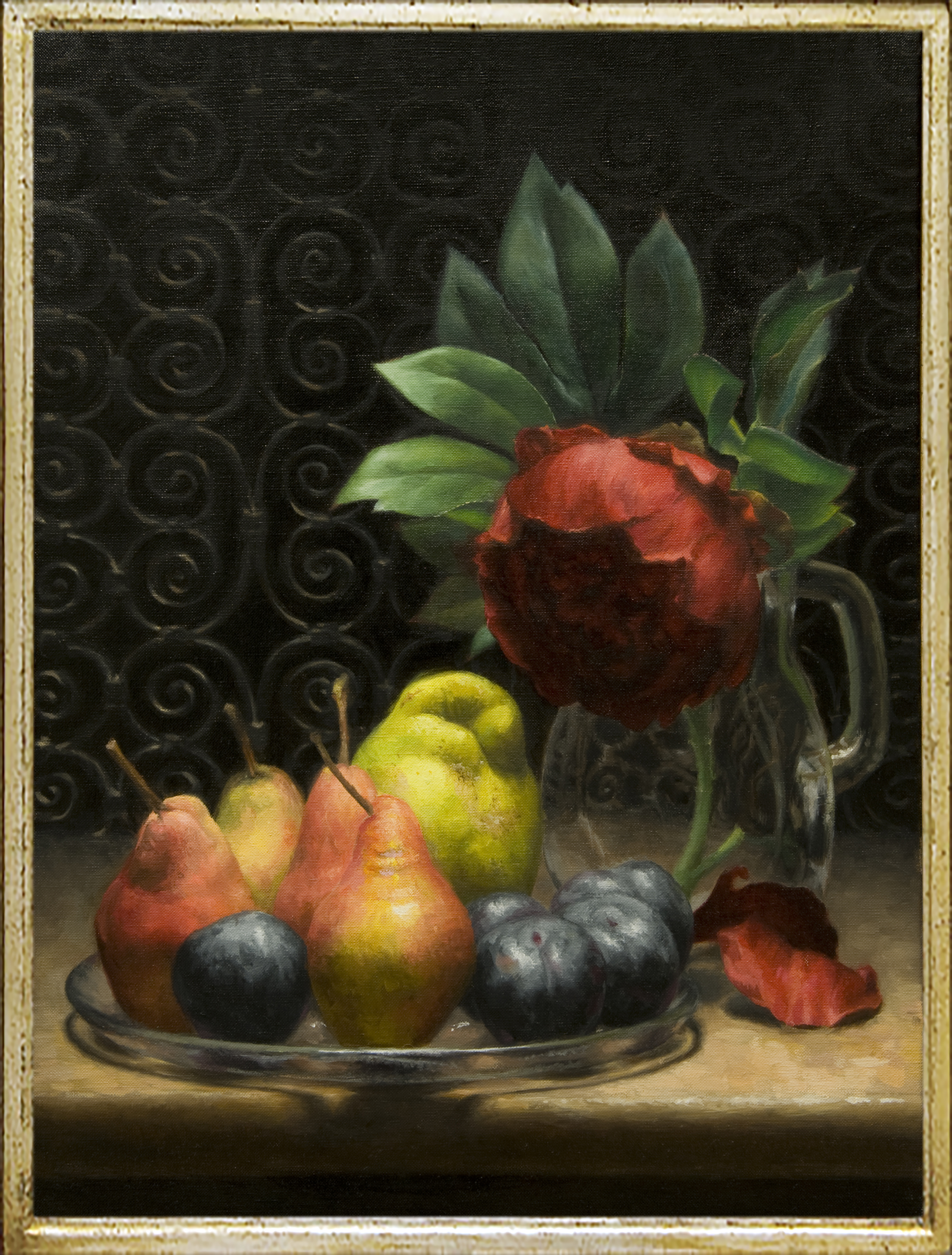 Peony, plums and pears