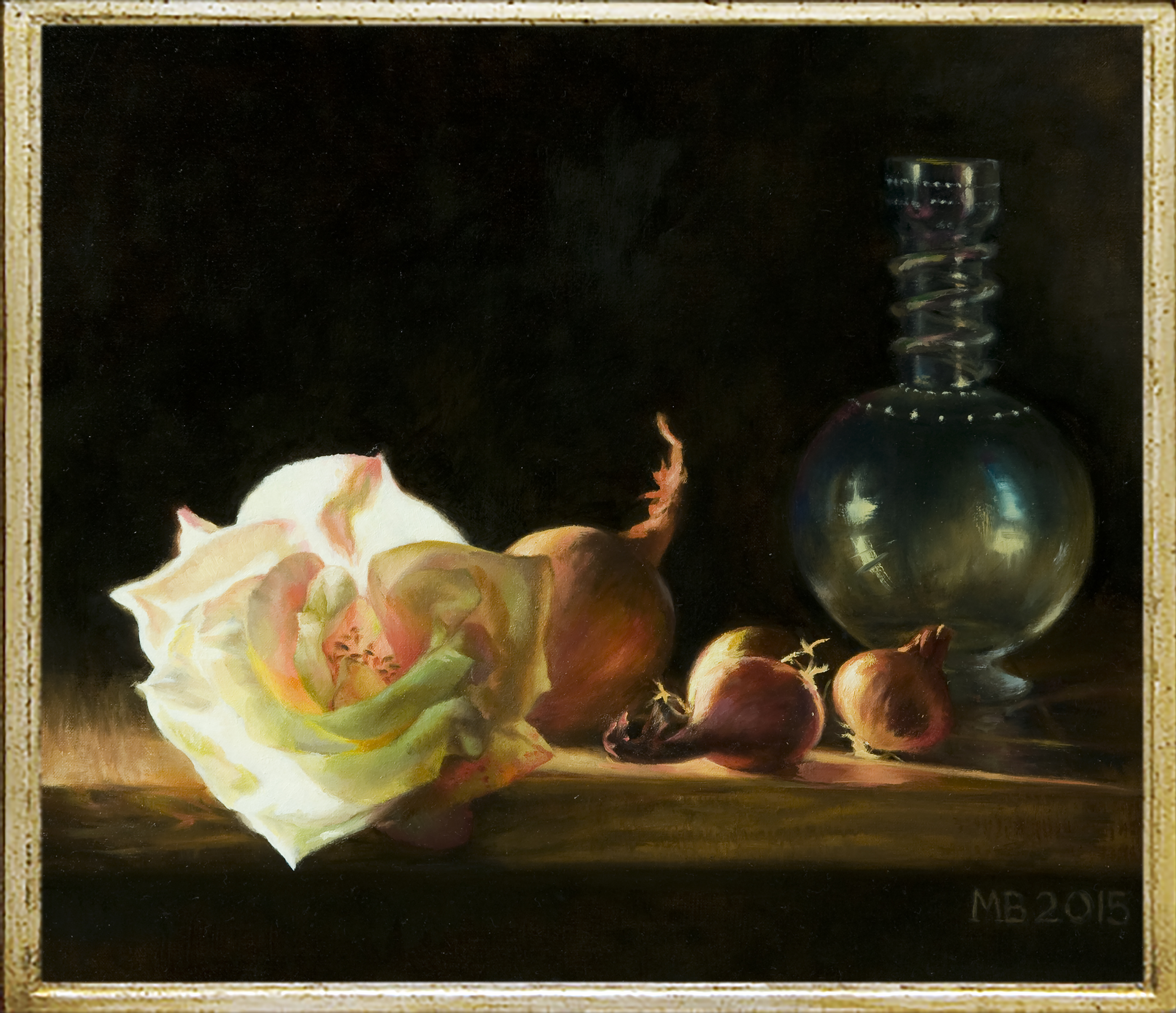 White Rose, Glass Vase and Shallots