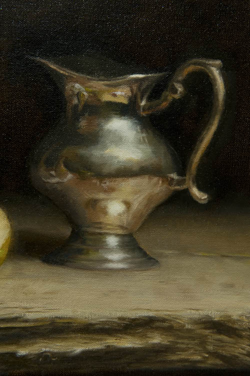 Silver jug, pear and plate